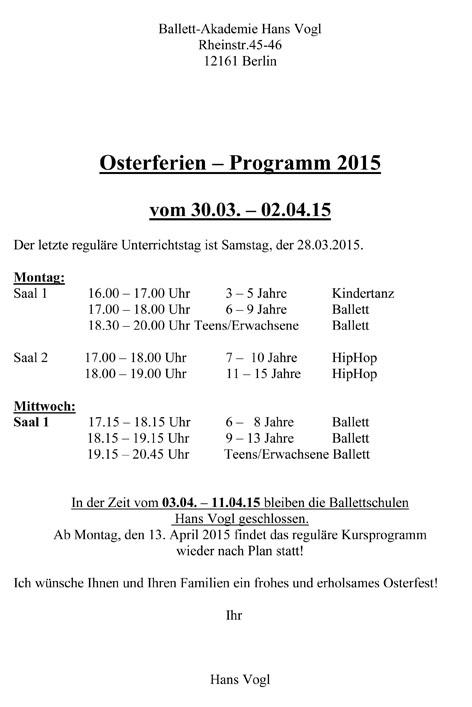 Osterferien – Programm